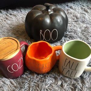 Rae Dunn Fall/Halloween Bundle Mugs & Pumpkin